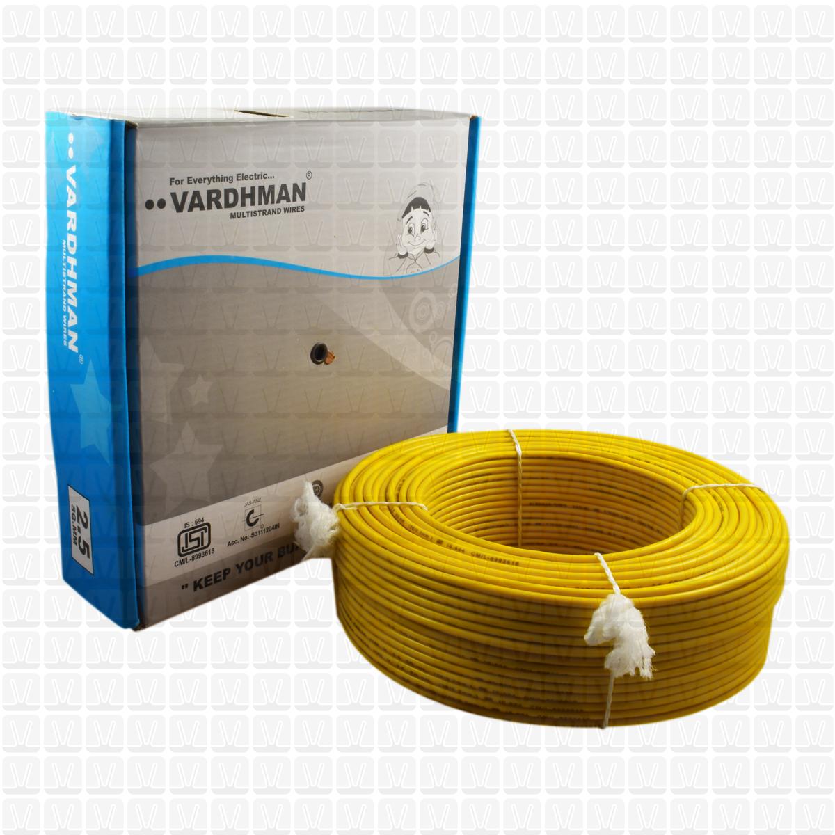 vardhman 2 5 mm wire yellow (90 mtr /bundle)   multistrand wire   vardhman  shop
