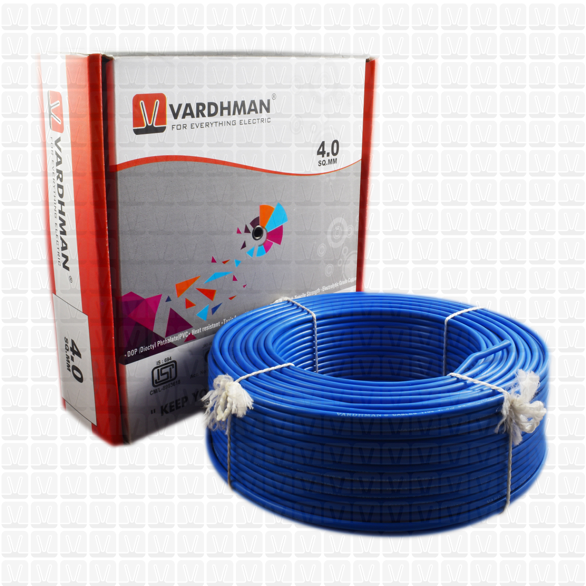 Vardhman 40 Mm Wire Blue 90 Mtr Bundle Multistrand Heat Resistant Wiring Shop